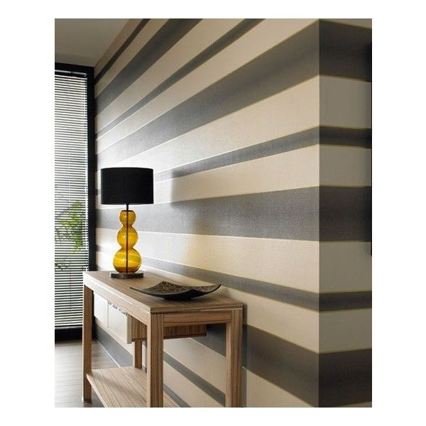 Graham & Brown Verve Stripe Brown (3.355 RUB) ❤ liked on Polyvore featuring home, home decor, wallpaper, backgrounds, brown striped wallpaper, stripe wallpaper, browning wallpaper, gold home decor and gold metallic wallpaper