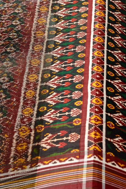 Just visited world famous city Patan, Gujarat famous for 'patola' Sarees. I seen the process of making and fall in love of this craft. the technique used to make patola is called ikat : Ikkat, is a dyeing technique used to pattern textiles that employs a resist dyeing process similar to tie-dye on either the warp or weft fibres.