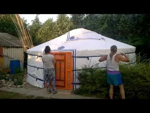 How to Build a Yurt - Adding the Top Cover....   See More