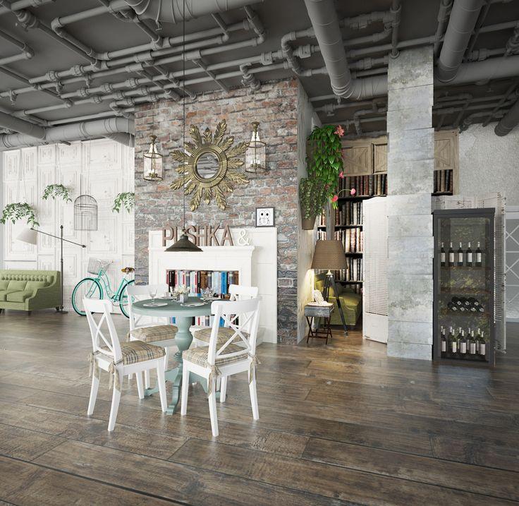"""Ресторан актуального дизайна """"PUSHKA & МУШКА"""" Эклектичный дизайн с акцентом на актуальные детали. Попытка создать модную атмосферу и сделать заведение культовым."""