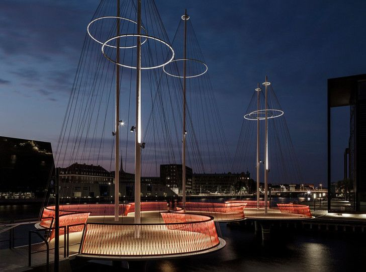 Olafur Eliasson S Ship Inspired Circle Bridge Opens In Copenhagen Eliassoncopenhagen Denmarkpedestrian Bridgenordic Designbridgescircles Lighting