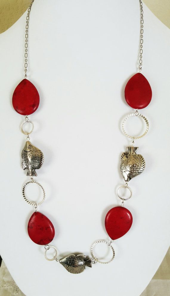 Red Howlite & Silver Angel Fish Necklace by Earthcentricity