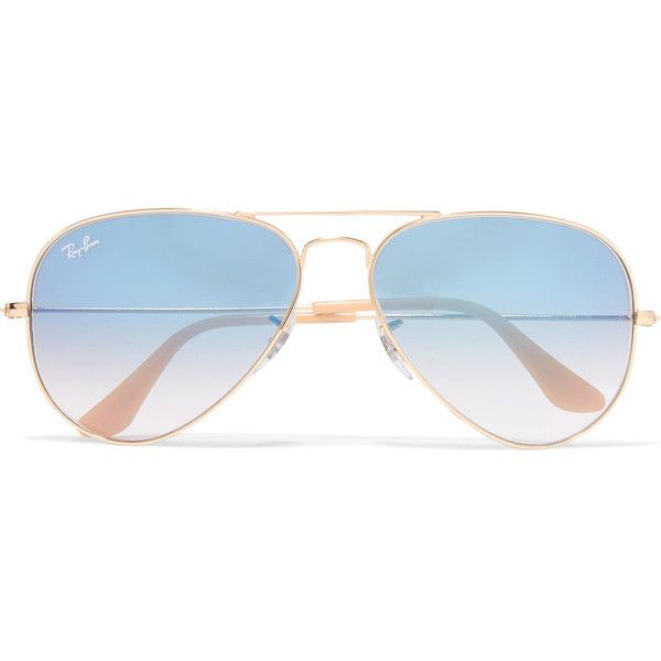 Ray-Ban Aviator gold-tone sunglasses found on Polyvore featuring accessories, eyewear, sunglasses, glasses, blue lens aviator sunglasses, aviator sunglasses, uv protection glasses, aviator eyewear and ray ban sunglasses