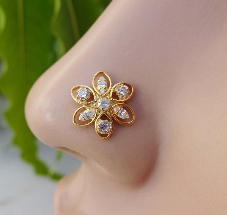 Crystal Ring,White Nose Stud,Gold Nose,Sterling Silver Stud,Medusa Nose Ring 20g #BodyJewelry