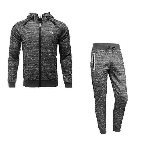 AIRAVATA Mens Jogging Suits Sportwear Zip Hoodie Joggers Gym Tracksuit Set
