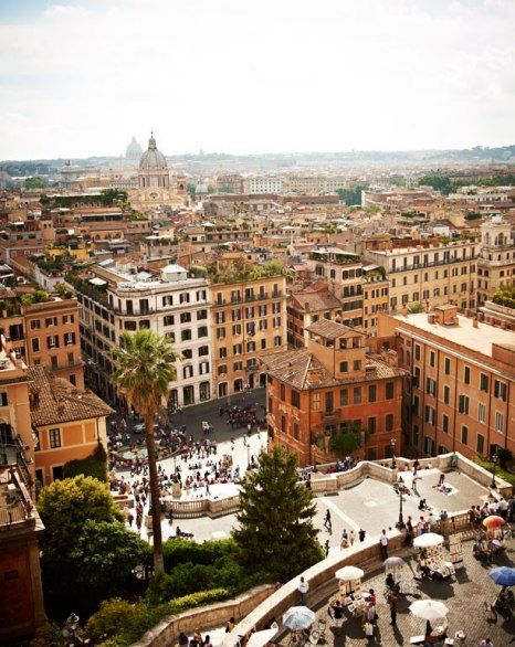 The view from atop the Hassler Hotel, down the Spanish Steps to the Piazza di Spagna.