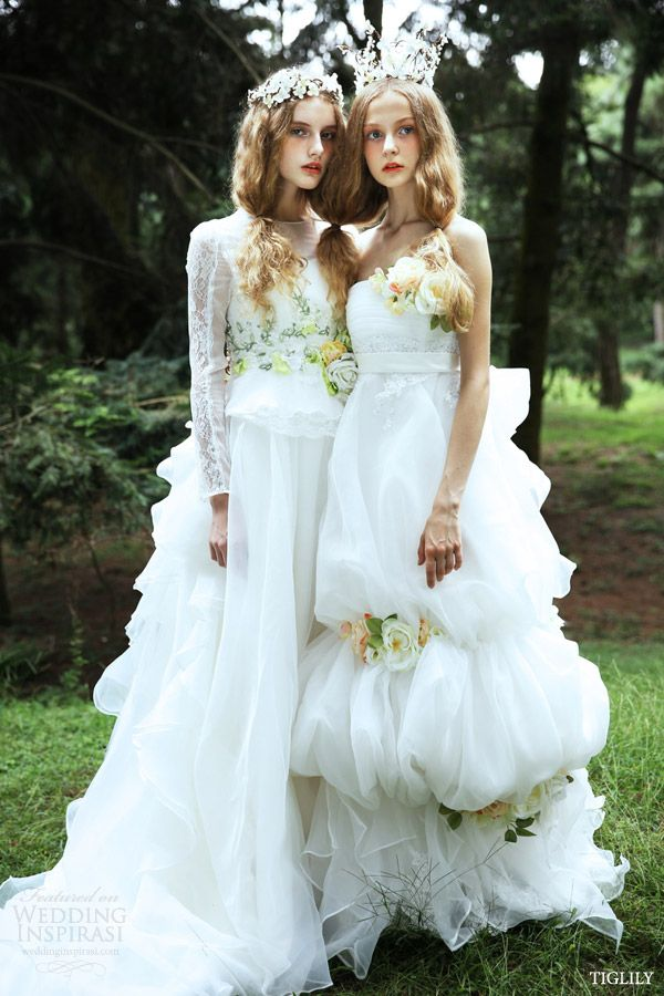 tiglily 2015 bridal amore japan romantic white wedding dresses with long sleeves style w301 strapless empire style w300