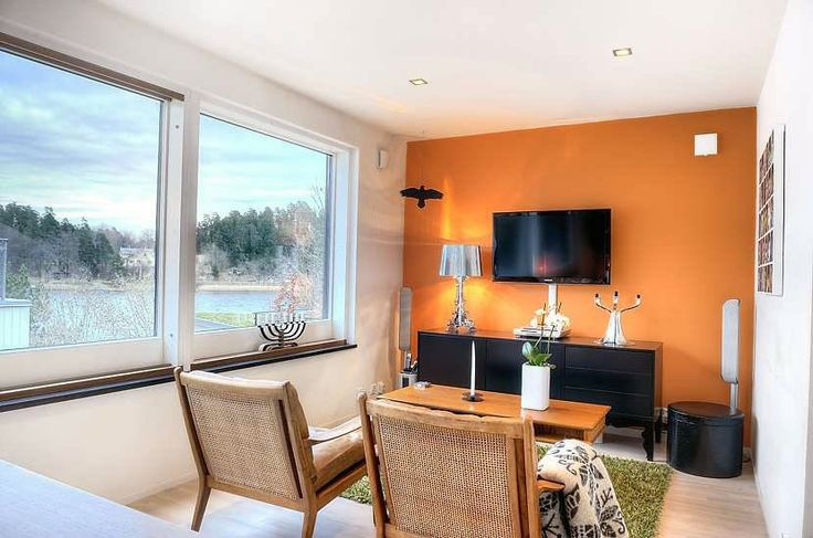Bright Small Living Room With Orange Wall Bright Small Living Room With Orange Wall Orange