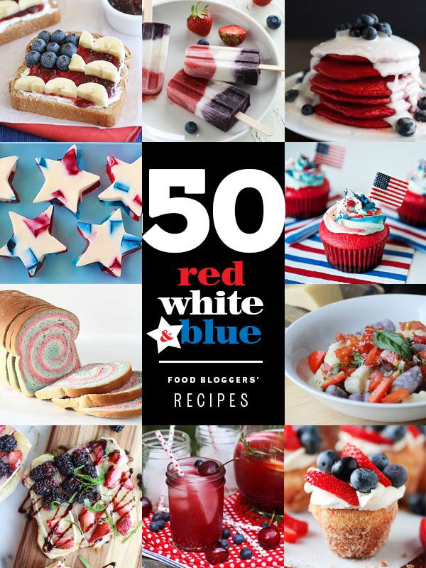 50 Red White and Blue Recipes from favorite food bloggers around the web #recipes on foodiecrush.com