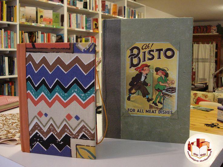 Quaderni rilegati a mano rivestiti con carte fantasiose.  Creato da noi: www.rilegoerileggo.org