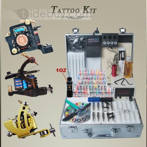 Three Professional Tattoo Machine Kit with LCD Power Supply and 55 Color Inks DIY-112