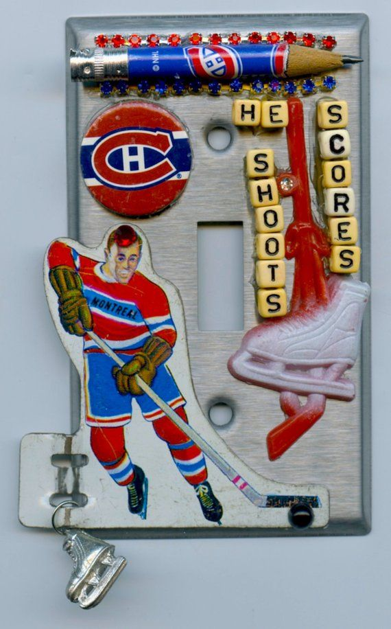 Hockey Canadians Light Switch Cover With Vintage Game Piece And