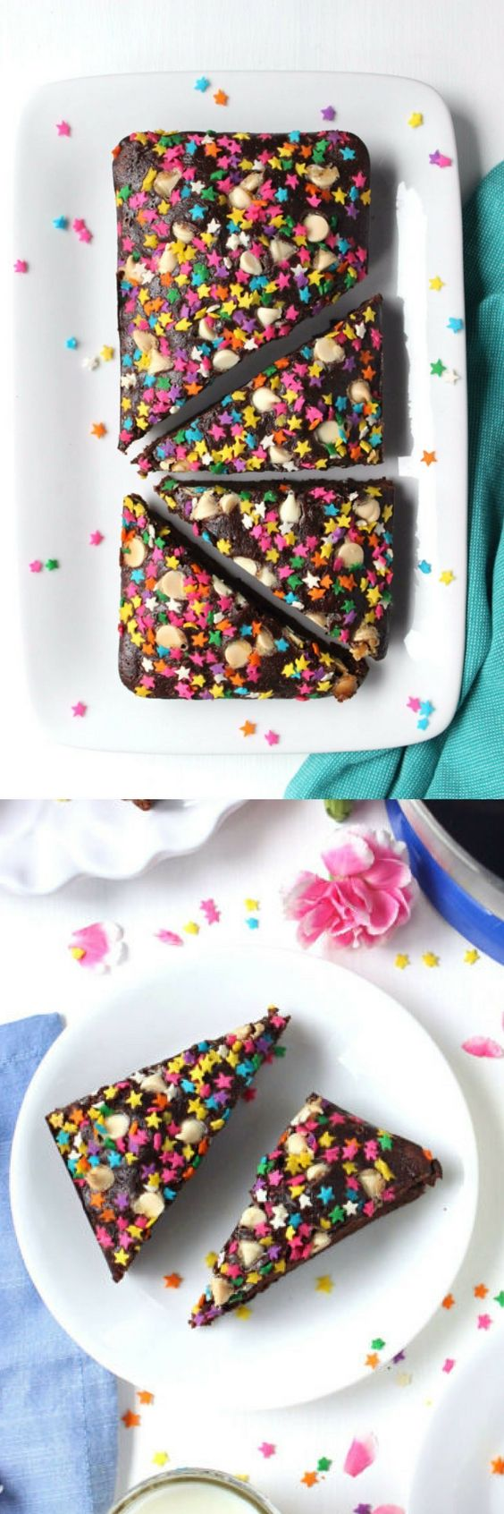 Made with NO butter and baked in just 25 minutes, it doesn't get much easier (or healthier!) than these Skinny + Fudgy Greek Yogurt Brownies for two. | reduced fat, healthy dessert, small batch brownies, chocolate, sprinkles