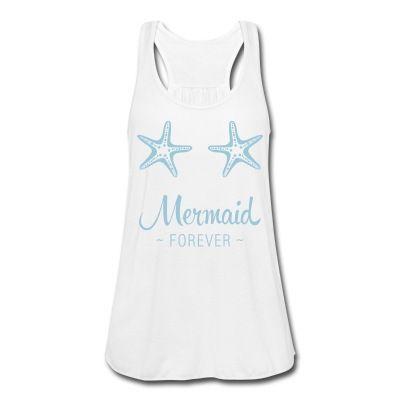 Débardeur avec motif d'étoiles de mer et texte 'Mermaid Forever'.Motif disponible en différents coloris.Attention : ce modèle de débardeur est légèrement transparent. Mon conseil : à porter par dessus votre maillot de bain ou sur une brassière blanche (ou de la couleur du motif).