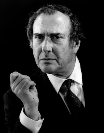 Harold Pinter in a 1993 production of his play No Man's Land at the Almeida in London. Photographed by Tristram Kenton.