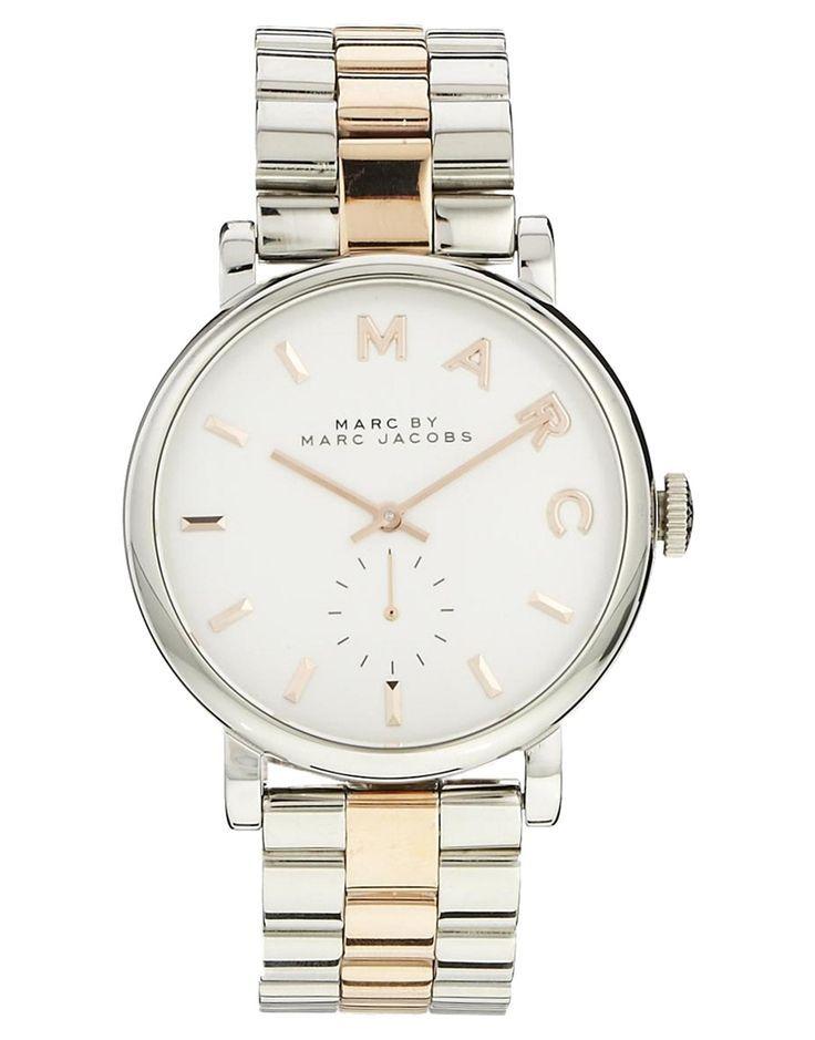 Marc By Marc Jacobs Baker – Zweifarbige Uhr aus Silber und Roségold