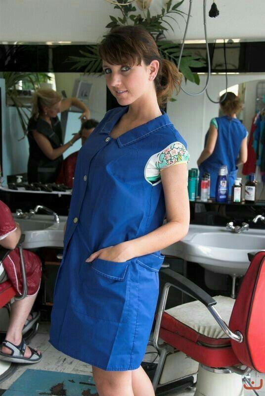 Les 1170 meilleures images propos de blouses nylon et for Salon de coiffure sexy