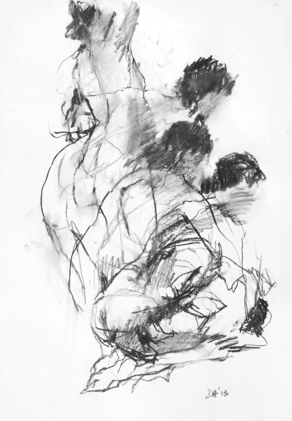 Transitions - Charcoal Life Drawing 01 by David Hewitt