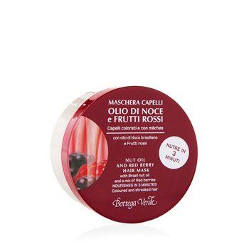 Maschera olio di Noce e Frutti rossi, con olio di Noce brasiliana e mix di Frutti rossi (200 ml) - nutre in 1 minuto - capelli colorati e con mèches