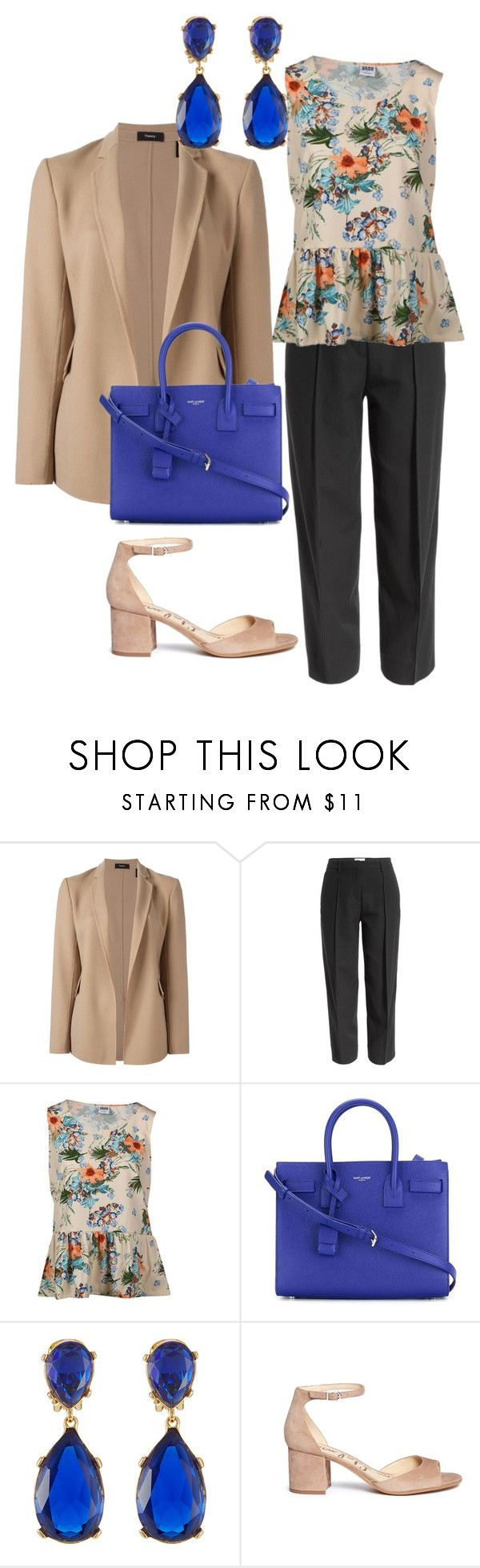 """""""Business casual"""" by yvonne-tyler ❤ liked on Polyvore featuring Theory, Maison Margiela, Vero Moda, Yves Saint Laurent, Kenneth Jay Lane and Sam Edelman"""