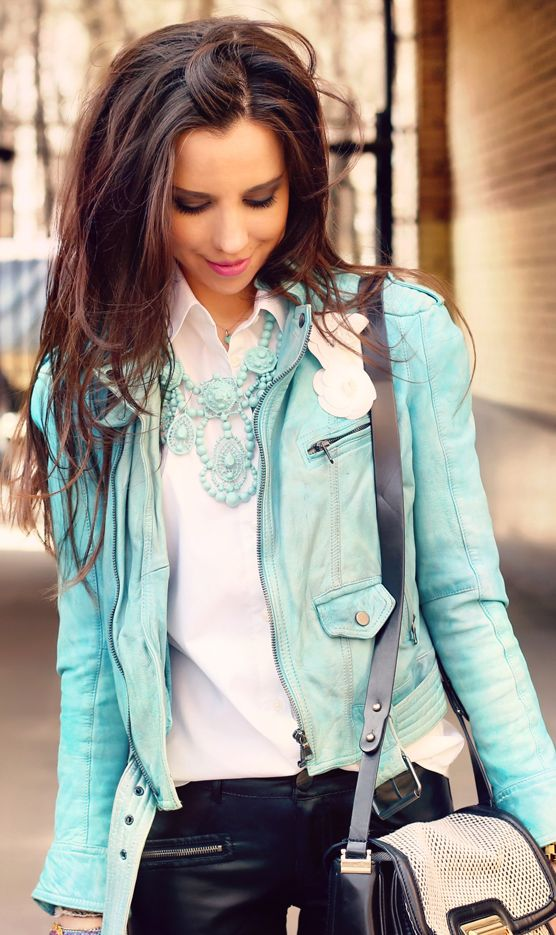 Adorable mint  colored jacket, white blouse pants, And perfect jewelry~perfect for fall!