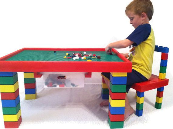 Children S Table And Chair Lego, Wooden Lego Table With Chairs