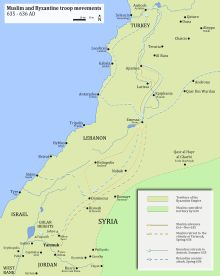 A map with Muslim-Byzantine troop movements from September 365 to just before the event of the Battle of Yarmouk