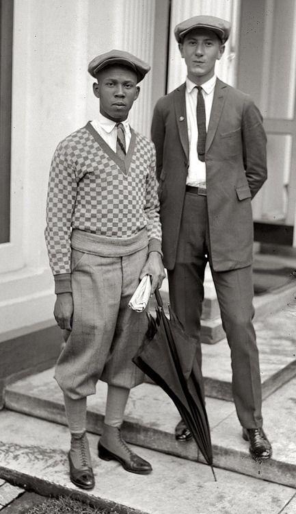 Thomas W. Miles and Simon Zebrock. Los Angeles 1924. Knickerbockers, tweed hats