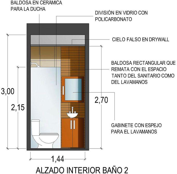Casa G+A: Alzado interior baño 2 / G+A House: 2nd. bathroom interior facade