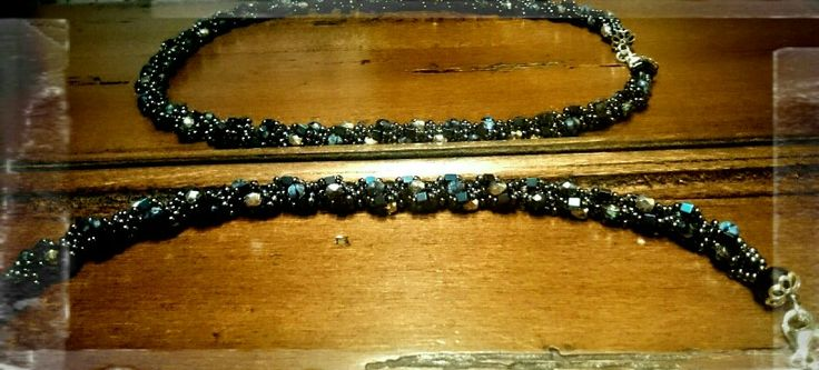 Necklaces with hematite, toho beads, firepolish, silver  clasp