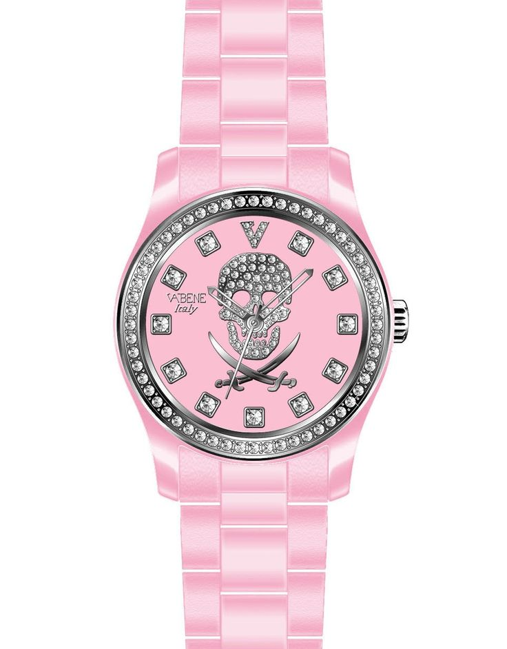 Vabene Watch S Italy Pink Pirate Skull Crystal Genuine Women Vintage Skeleton  Vabene Chrono Collection Unisex Watch PI709  Case size: 45mm diameter Swiss made quartz battery movement Pink round dial with indices Pinnk plastic polycarbonate case  Pink acrylic bracelet with locking clasp Fixed stainless steel bezel with ONE line of swaronsky crystals Date calendar function Mineral glass crystal Water resistant to 50atm