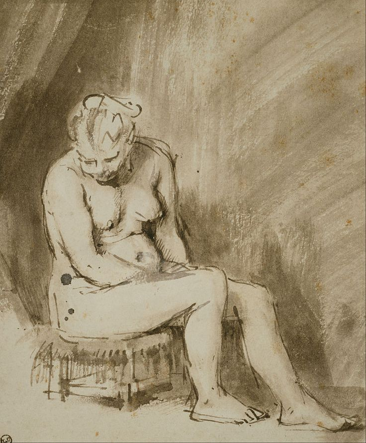 Rembrandt (Rembrandt Harmenszoon van Rijn), 1606-1669, Dutch, Seated Female Nude, c.1660. Pen and ink, brown and white wash, 21.1 x 17.4 cm. The Art Institute, Chicago. Dutch Golden Age, Baroque.