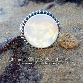 Our Mother of Pearl Shell Ring is simply stunning! The gorgeous mother of pearl shell is set in 925 sterling silver,  and is a perfect accessory for summer. Only AUD$45. Shop it here: http://925andco.com.au/shop/shop/mother-pearl-shell-ring