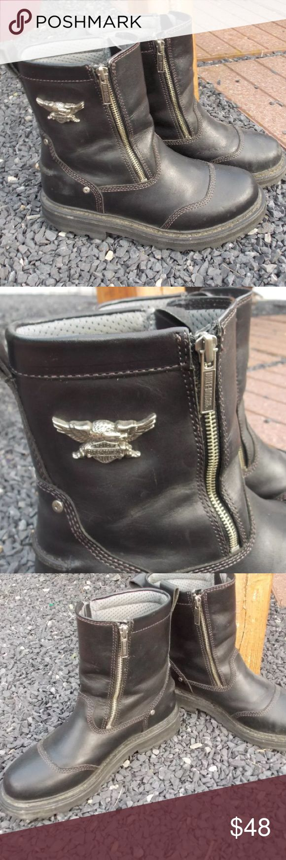 Harley Davidson Mens Motorcycle Riding Boots 9 Size 9. Some minor scuffs as to be expected from riding. Still a ton of life left in these. Be sure to view the other items in our closet. We offer  women's, Mens and kids items in a variety of sizes. Bundle and save!! Thank you for viewing our item!! Harley-Davidson Shoes Boots