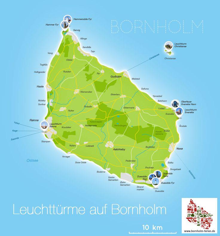 Karte der Leuchttürme auf Bornholm #karte #leuchttuerme #bornholm
