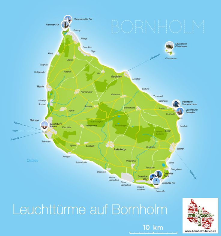 Übersichts-Karte der Leuchttürme auf Bornholm