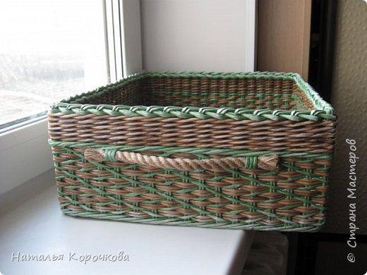 Поделка изделие Плетение Коробки для вещей в мужской шкаф Трубочки бумажные фото 6