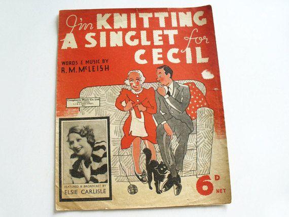 1930s sheet music with lyrics  I'm knitting a by RetroDelia