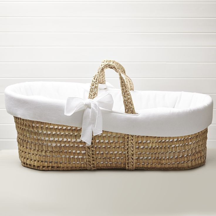 Moses Basket In White Waffle