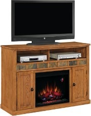 Sedona Electric Fireplace Media Center in Classic Oak - Also available in Carmel Oak, this rustic mantel features a beautiful slate inlay with storage for your media components.  http://www.electricfireplaces.com/home_theaters.php