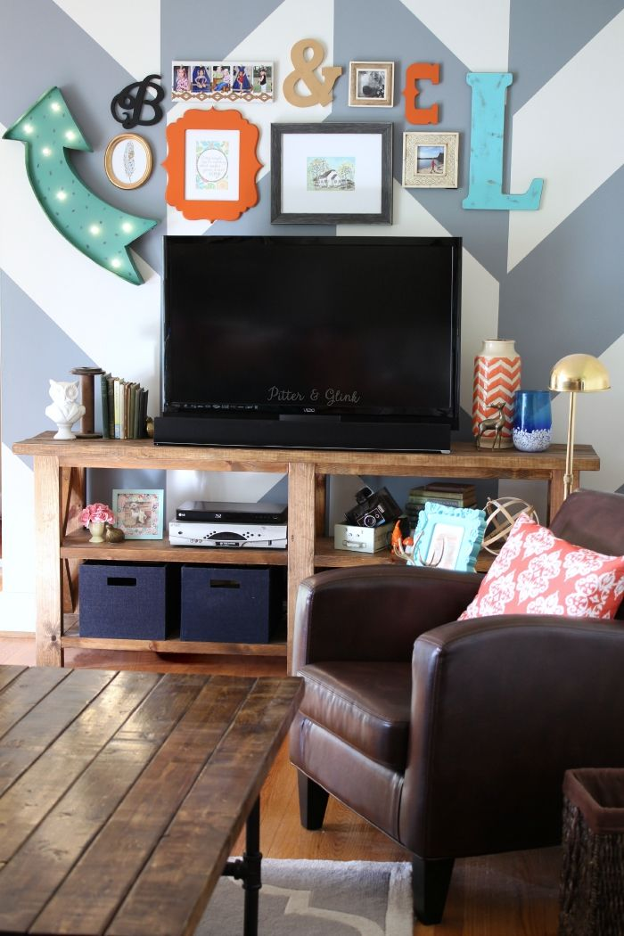 How To Makeover Your Boring Media Wall Using Pattern Color And Eclectic Decor
