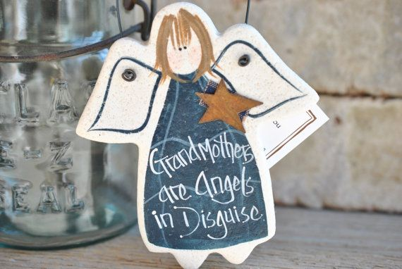 Mother's Day Grandmother Gift Birthday Gift Grandmother Gift for Her Salt Dough Angel Ornament