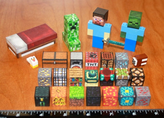 Custom Minecraft Lego toy Steve Creeper Zombie plus by MadeByCLO, $64.95