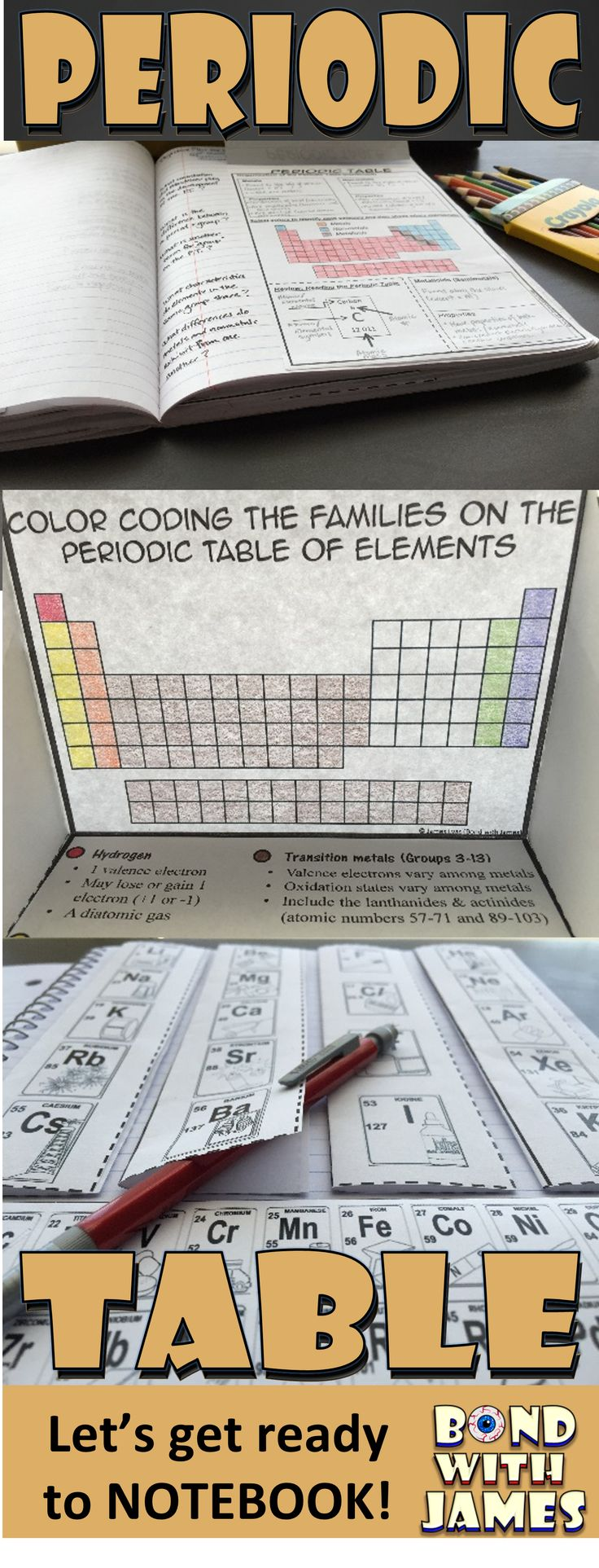 Enhance your chemistry interactive notebook (INB) with the Periodic Table of Elements for Chemistry Interactive Notebooks and Lapbooks. The product includes student notes and interactive graphic organizers (IGOs).