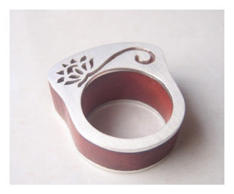 Wooden Protea Ring  Sterling Silver 925 by BlackStarSA