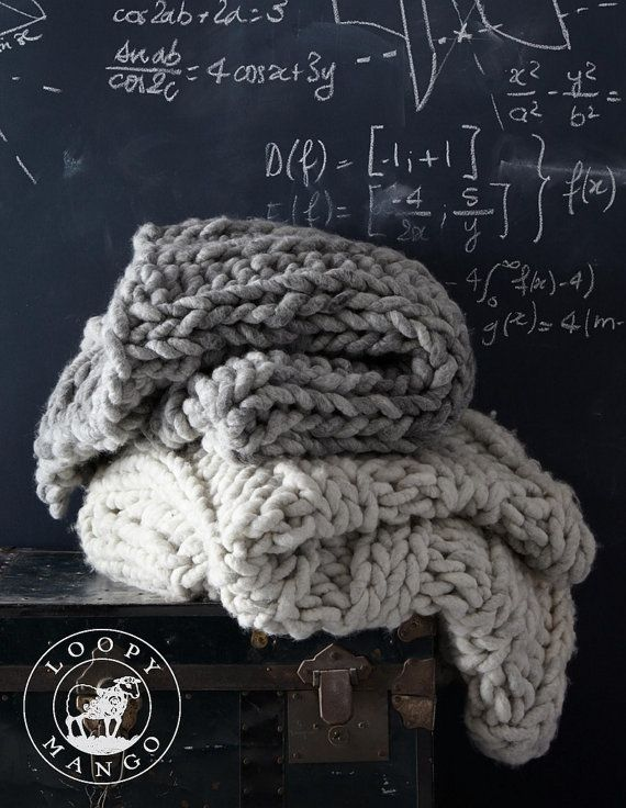 DIY Knit Kit Big Loop Merino Chunky Knit Blanket or by loopymango