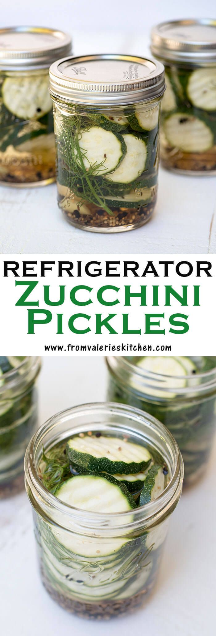These Refrigerator Zucchini Pickles are a fantastic way to use up that ever abundant late-summer zucchini. Fun and easy to make and so tasty!
