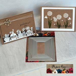 PAPER ROSE DIE Stitched Rectangles 8 piece - metal cutting dies