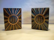 Nice Copper/Bronze Bookends with Monogrammed `M' ~ Attributed to Hyde Park by LE Mason Co Boston MA 1930's  www.timberhillsantiques.com