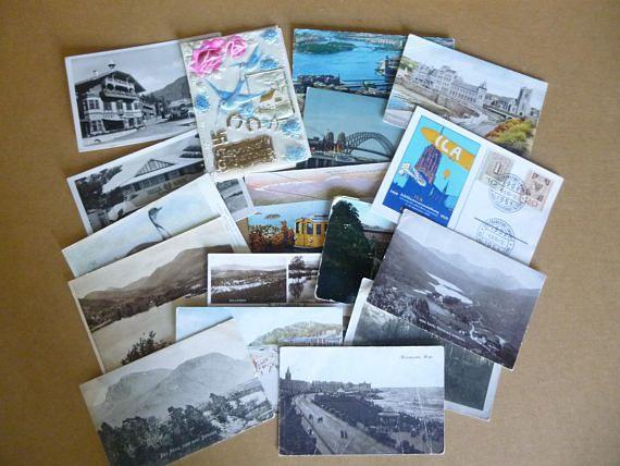 Postcards sixteen Vintage Bulk Lot and 1 greeting card